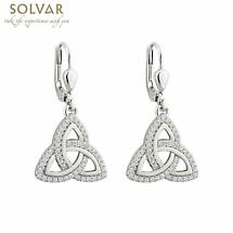 Trinity Knot Earrings - Sterling Silver Cublic Zirconia Drop Irish Earrings