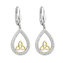 Celtic Earrings - Sterling Silver and Gold Plated CZ Trinity Oval Drop Earrings