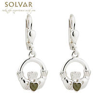 Sterling Silver with Connemara Marble Claddagh Drop Earrings