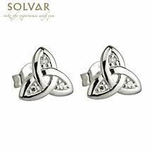 Celtic Earrings - 14k White Gold Trinity Knot Diamond Earrings