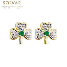 14k Gold with Shamrock Emerald and Diamond Earrings