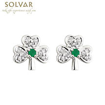 14k White Gold with Emerald and Diamonds Shamrock Earrings