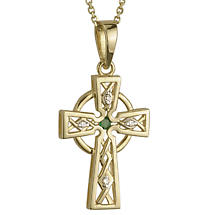Celtic Pendant - 14k Gold with Diamond and Emerald Celtic Cross Pendant with Chain