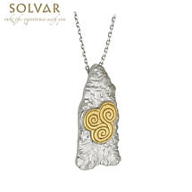 Celtic Pendant - Sterling Silver Two Tone Newgrange Celtic Spiral Pendant with Chain