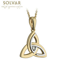 Celtic Pendant - 14k Two Tone Gold and Diamond Trinity Knot Pendant with Chain