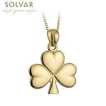 Irish Necklace - 14k Gold Shiny Shamrock Pendant with Chain