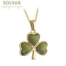 Irish Necklace - 14k Gold and Connemara Marble Shamrock Pendant with Chain