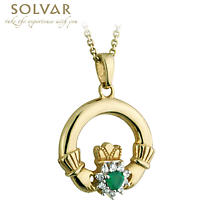 Irish Necklace - 10k Gold with Green Agate and CZ Claddagh Pendant with Chain