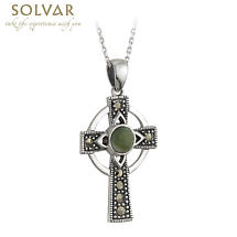Celtic Pendant - Sterling Silver and Connemara Marble Marcasite Celtic Cross Pendant with Chain