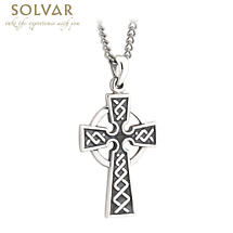 First Communion Sterling Silver Embossed Celtic Cross Pendant with Chain