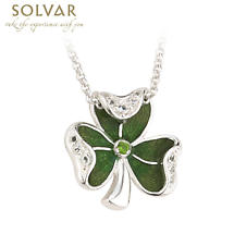 Irish Necklace - Sterling Silver with Enamel and Crystal Shamrock Pendant with Chain