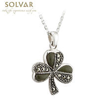 Irish Pendant - Sterling Silver Connemara Marble Marcasite Shamrock Necklace