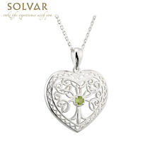 Irish Necklace - Sterling Silver Crystal Heart Tree of Life Pendant