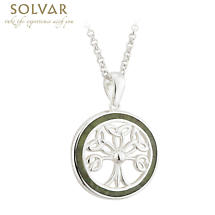 Celtic Pendant - Sterling Silver and Connemara Marble Tree of Life Irish Necklace