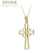 Celtic Pendant - 10k Yellow Gold Open Celtic Cross Necklace
