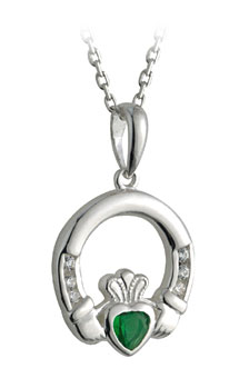 Irish Necklace - Sterling Silver with Emerald and CZ Claddagh Pendant with Chain
