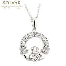 Irish Necklace - 14k White Gold and Diamond Claddagh Pendant