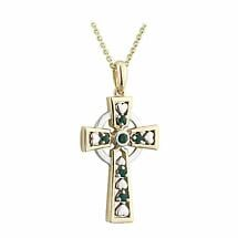 Celtic Cross Necklace - 14k Gold with Emeralds Celtic Cross Pendant