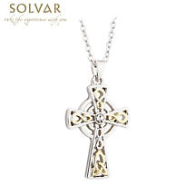 Celtic Necklace - Two Tone Crystal Cross Pendant
