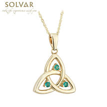 Celtic Necklace - 10k Gold Emerald Trinity Pendant