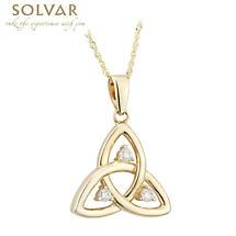 Celtic Necklace - 10k Gold CZ Trinity Pendant