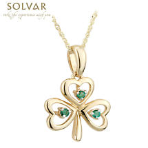Shamrock Necklace - 10k Gold Emerald Shamrock Pendant
