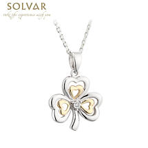 Shamrock Necklace - Silver, 10k Gold & Diamond Shamrock Pendant