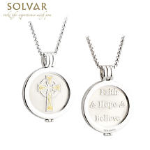 Irish Coin Pendant - Celtic Cross Coin Rhodium and Gold Plate Pendant