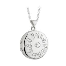 Irish Necklace - Sterling Silver History of Ireland Round Locket Pendant