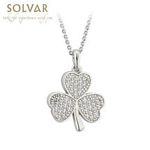 Irish Necklace - Rhodium Plated Crystal Irish Shamrock Pendant