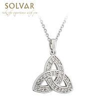 Irish Necklace - Rhodium Plated Crystal Irish Trinity Knot Pendant
