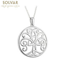 Celtic Necklace - Tree of Life Circle Sterling Silver Trinty Knot Pendant