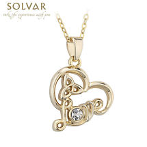 Irish Necklace - Gold Plated Trinity Knot Love Heart Crystal Pendant