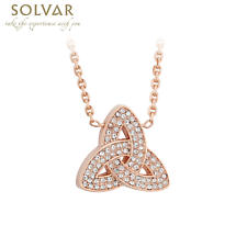 Irish Necklace - Rose Gold Plated Crystal Trinity Knot Pendant