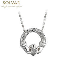 Irish Necklace - Rhodium Plated Crystal Claddagh Pendant