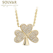 Irish Necklace - Gold Plated Crystal Shamrock Pendant