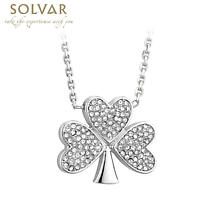 Irish Necklace - Rhodium Plated Crystal Shamrock Pendant