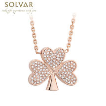 Irish Necklace - Rose Gold Plated Crystal Shamrock Pendant