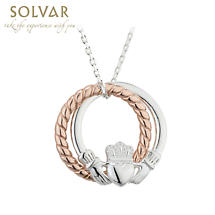 Claddagh Necklace - Sterling Silver Rose Gold Rope Irish Claddagh Pendant