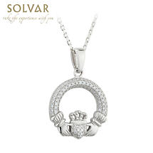 Irish Necklace - Sterling Silver Crystal Irish Claddagh Pendant
