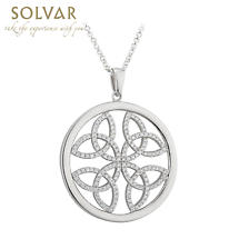 Celtic Pendant - Sterling Silver Circle Trinity Knot Necklace