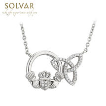 Irish Necklace - Sterling Silver Interlocking Trinity Knot Claddagh Pendant