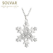 Irish Necklace - Rhodium Plated Snowflake Trinity Knot Pendant