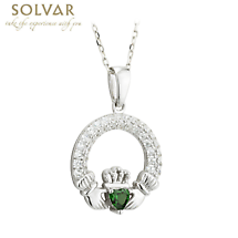 Irish Necklace - Claddagh Birthstone Crystal Pendant