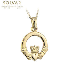 Irish Necklace - 14k Yellow Gold Claddagh Pendant with Chain - Medium