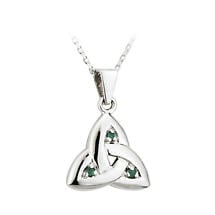 Irish Necklace - 14k White Gold Trinity Knot with Emeralds Pendant with Chain