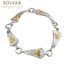 Celtic Bracelet - Sterling Silver Two Tone Newgrange Link Bracelet
