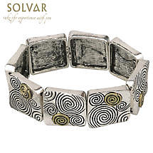 Irish Bracelet - Celtic Spirals Gold & Silvertone Stretch Bracelet
