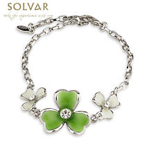 Irish Bracelet - 3 Shamrock Crystal and Enamel Bracelet