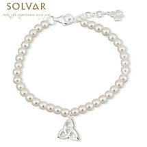 First Communion Pearl Bracelet - Silver Plated with Trinity Knot and Shamrock Charms